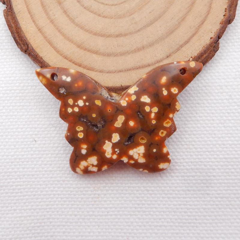 50cts Butterfly carving, ocean jasper butterfly pendant H937