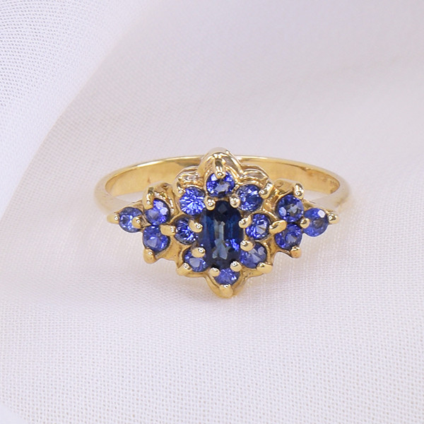 Natural Unheated Blue Sapphire Cluster 10kt Yellow Gold Ring