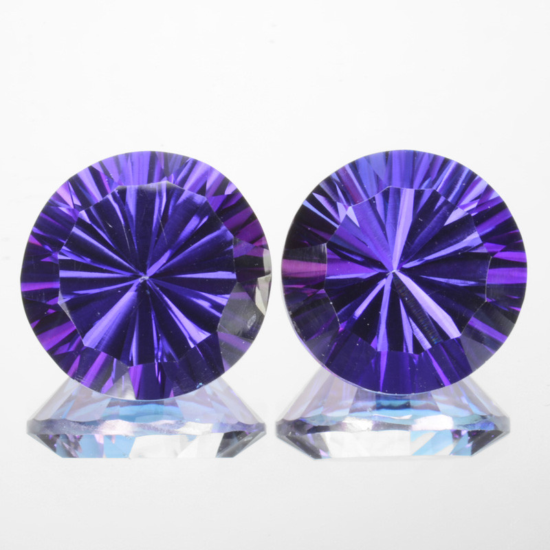 Matching Pair-14.85Cts Tanzanite Color Natural Topaz 12mm Round Concave Bra