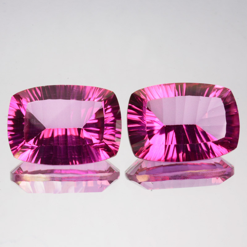 ~Matching pair~ 16.04 Cts Candy Pink Natural Topaz 14X10mm Cushion Concave