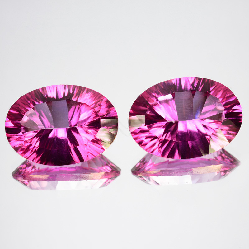 Matching pair-13.30Cts Cts Candy Pink Natural Topaz 14X10mm Oval  concave
