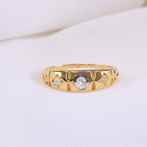 'Past Present Future' Diamond 18kt Gold Ring