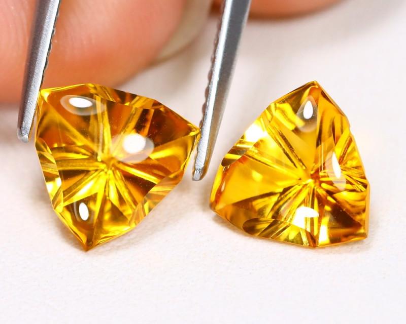 Citrine 3.05Ct 2Pcs Designer Cut Natural Golden Yellow Citrine AB3766