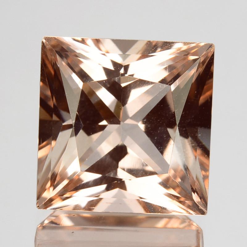 5.66Cts Natural Peach Pink Morganite 10mm  Square Princess Cut Brazil