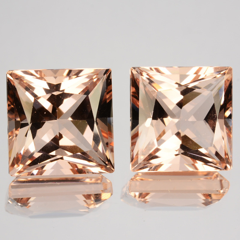 Matching pair!10.28Cts Natural Peach Pink Morganite 10mm Square Princess Cu