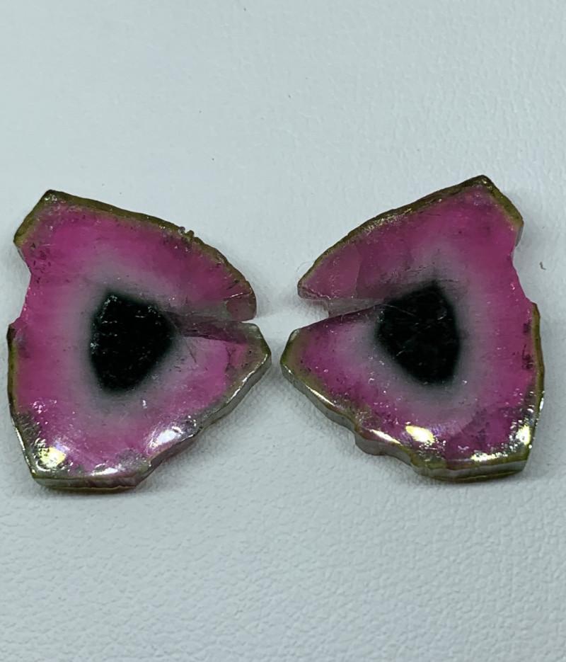 27.50 Carats Natural Tourmaline slices pair Gemstone