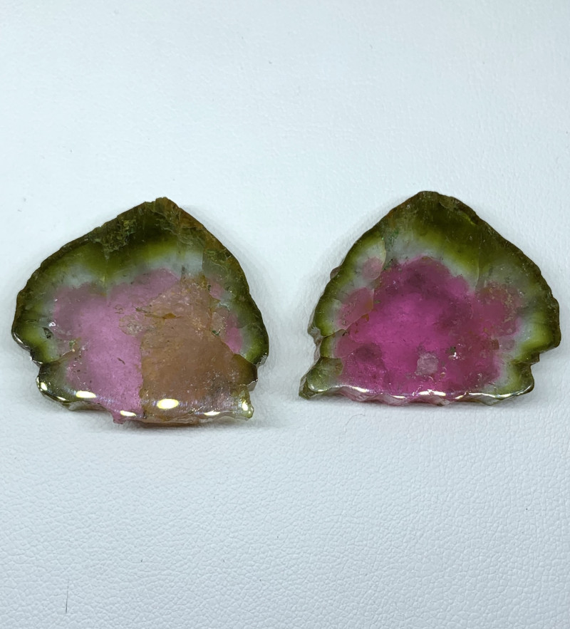84.00 Carats Natural Tourmaline slices pair  Gemstone