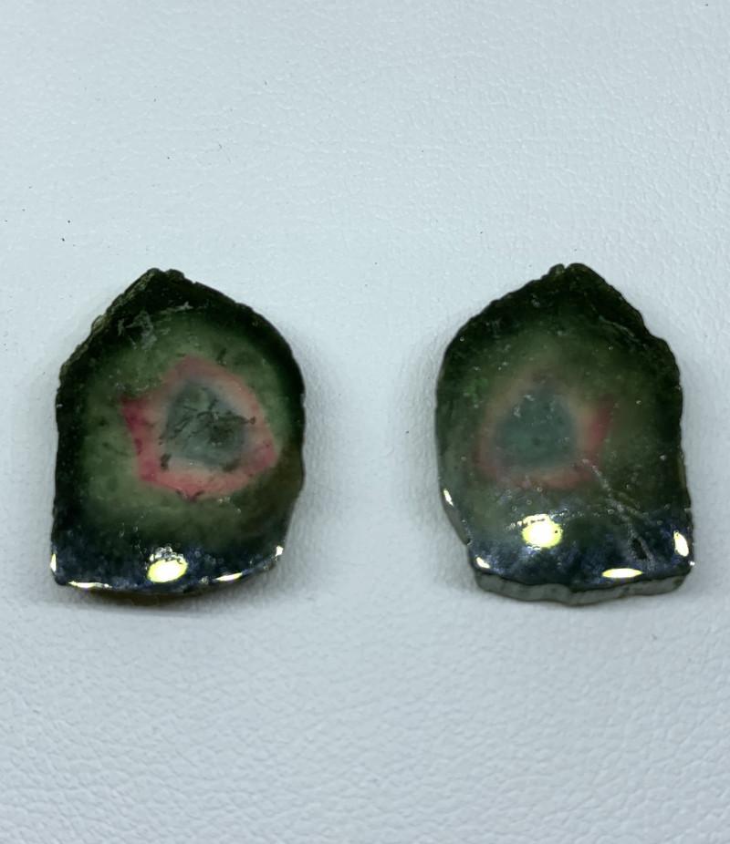 20.20 Carats Natural Tourmaline slices pair Gemstone