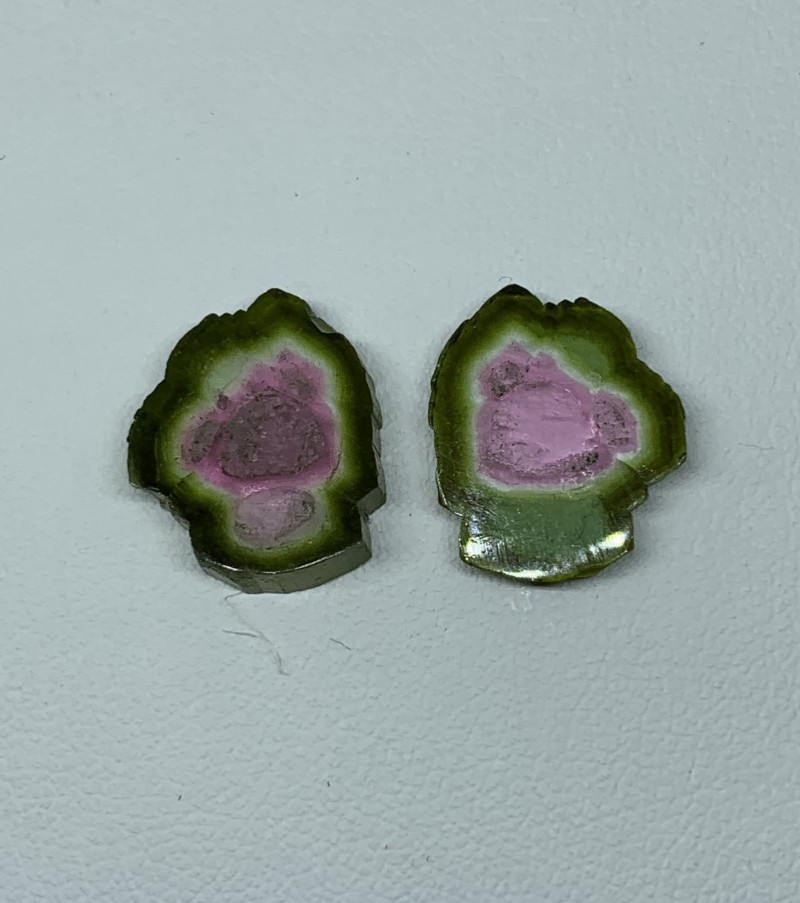 9.15 Cts Natural Tourmaline slices pair two side polish Gemstone