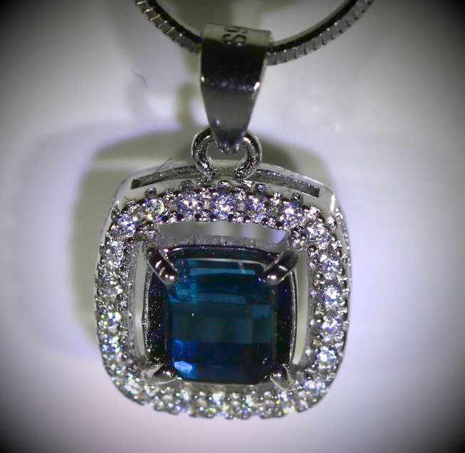 Blue Tourmaline 1.02ct White Gold Finish Solid 925 Sterling Silver Pendant