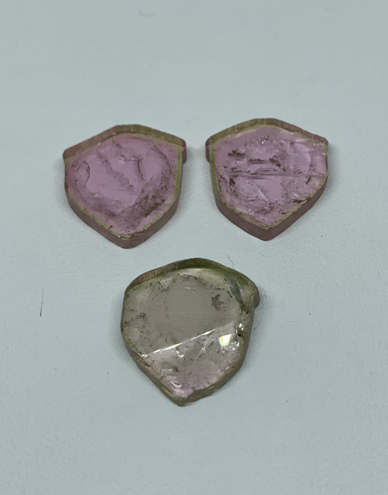30.60 Cts Natural Tourmaline slices pair two side polished  Gemstone