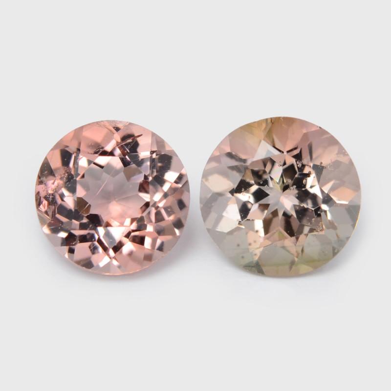 1.45 Cts 2pcs Round 5.71x3.51 mm Natural Bi color Tourmaline Gemstone