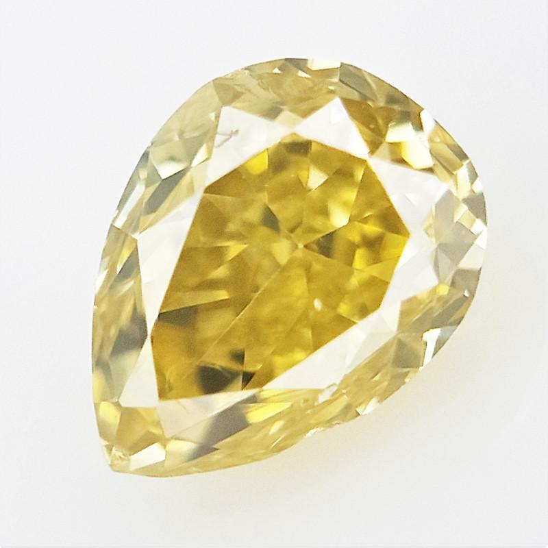 0.08 cts , Yellow Diamond , Pear Cut