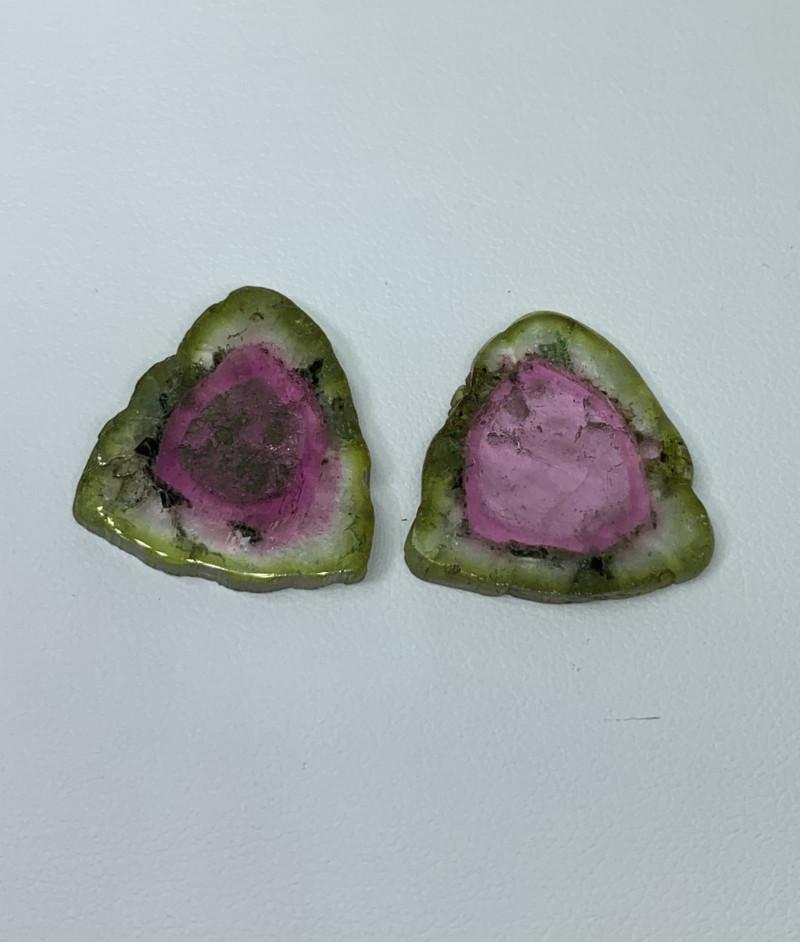 24.65 Cts Natural perfect watermelon  Tourmaline slices pair  Gemstone