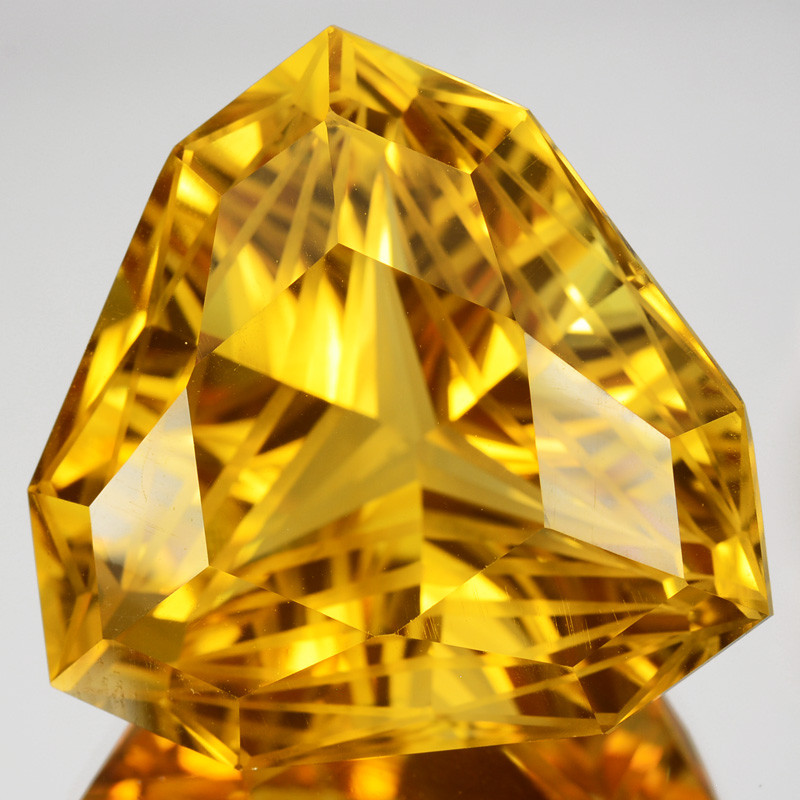 ~CUSTOM CUT~ 65.63Cts Natural Golden Orange Citrine Fancy Trillion Brazil
