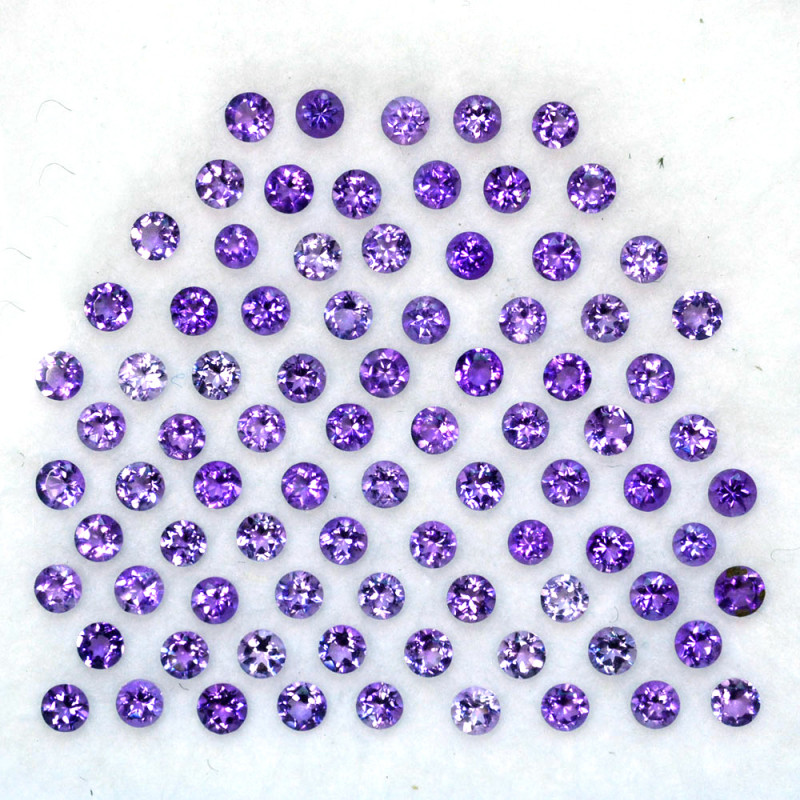 2.01 Cts Natural Purple Amethyst 2.0mm Round Cut  Parcel Bolivia