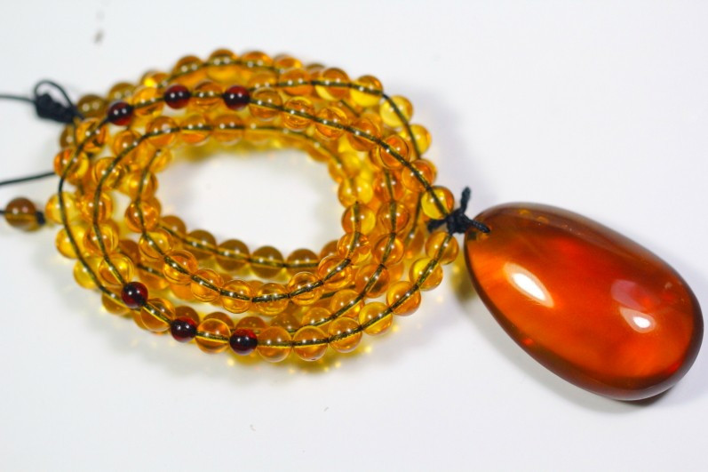 Natural Amber Pendant &  Necklace