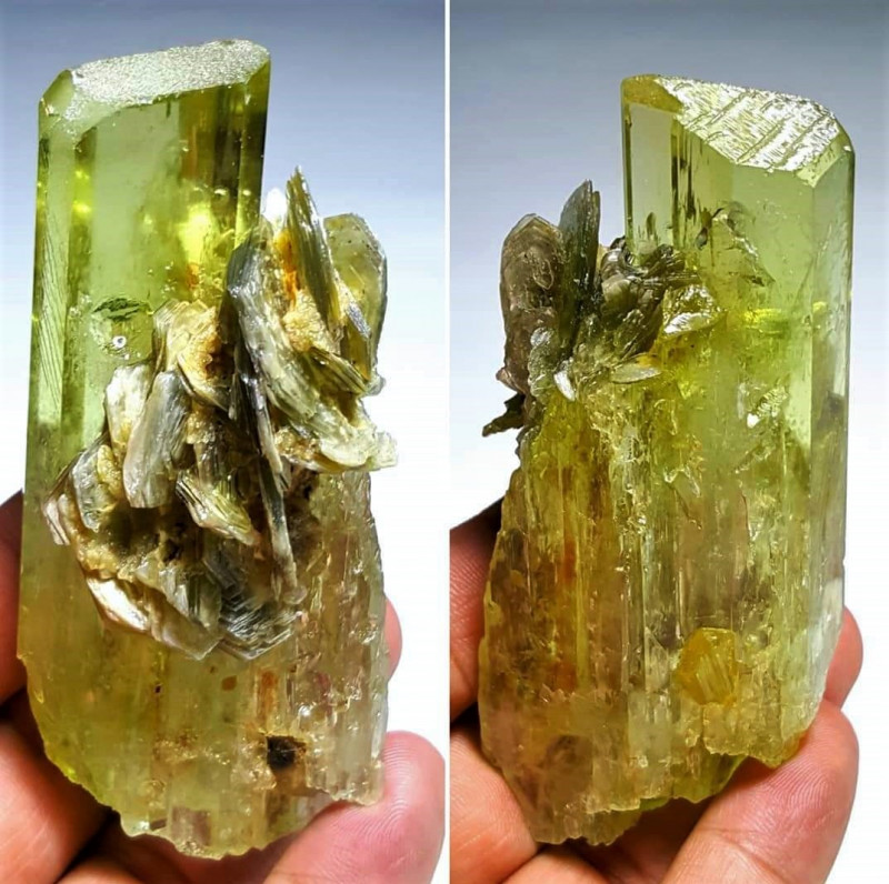 Amazing Natural color Faceted grade Spodumene Kunzite with Lovely Muscovite