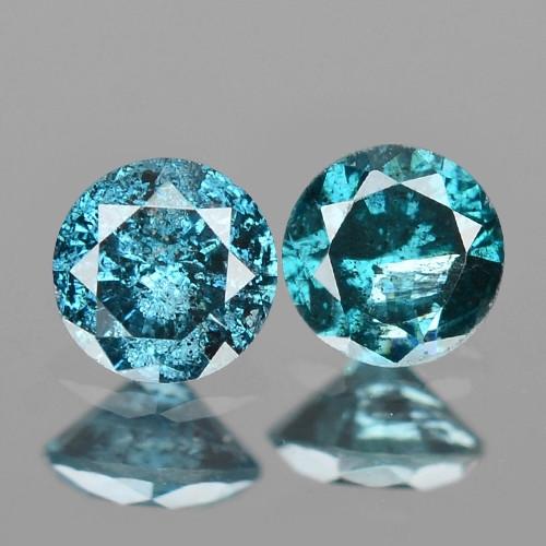 *NoReserve* Diamond 0.16 Cts 2pcs Sparkling Rare Fancy Blue Color Natural L