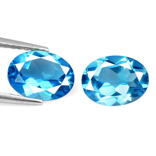 Topaz 2.86 Carat 2 Pcs Blue Natural Gemstones