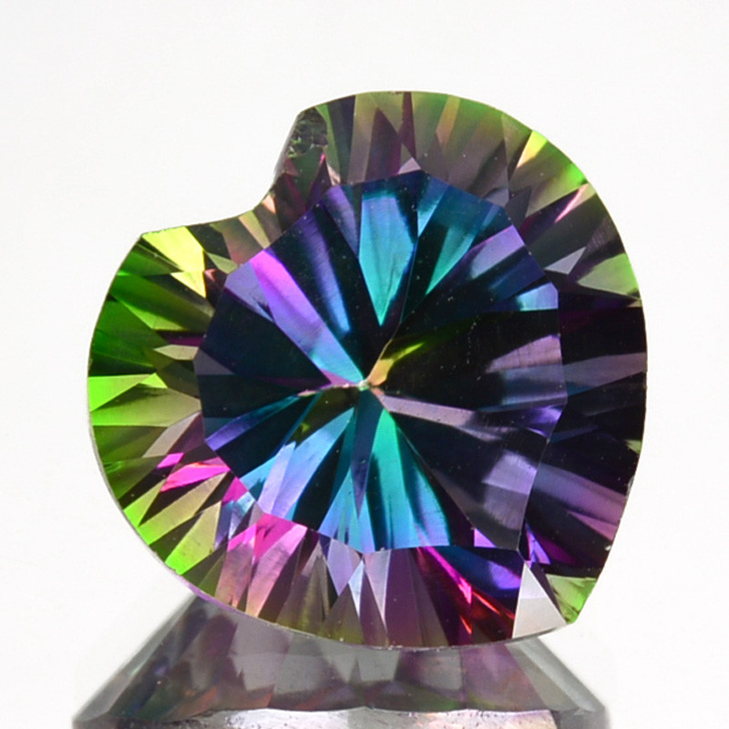 ~FLASHING~ 4.04 Cts Natural Rainbow Mystic Topaz 10mm Heart Concave  Brazil