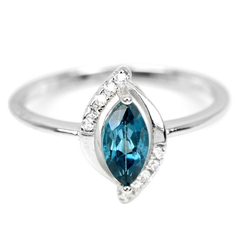 11.75Ct Sterling Silver 925 Natural London Blue Topaz Size 8.75 Ring A1150