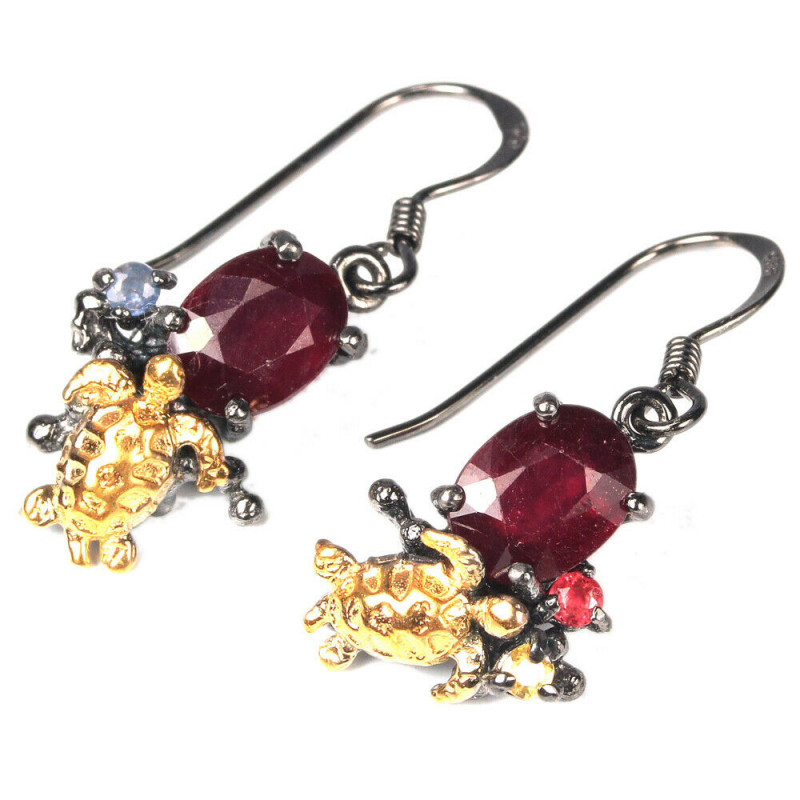 19.15Ct Sterling Silver 925 Natural Ruby Earring A1151