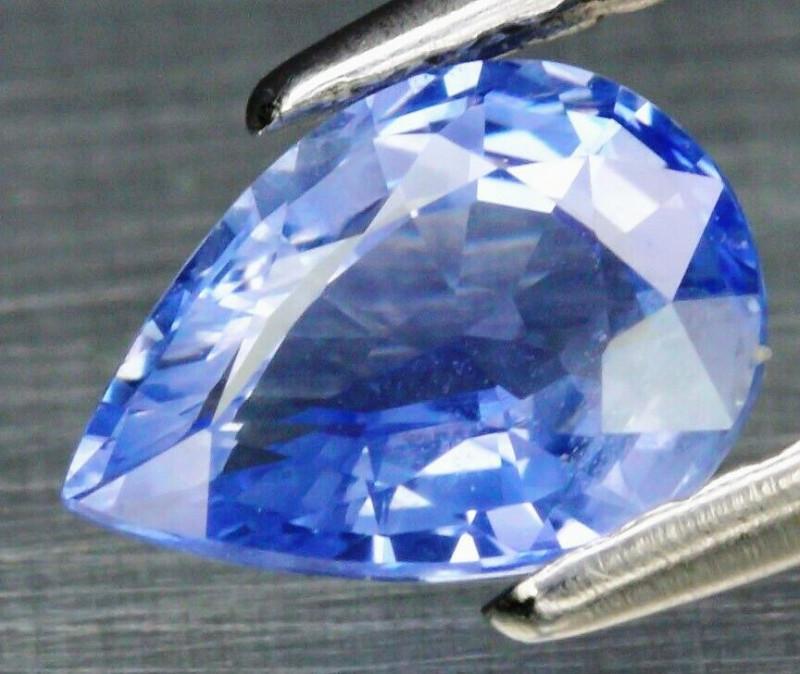 Dazzling! 1.07ct 7.4x5.2mm Pear Natural Pastel Blue Sapphire Ceylon