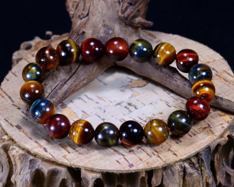 145.55Ct Natural Fancy Tiger Eye Beads Bracelet AB4991