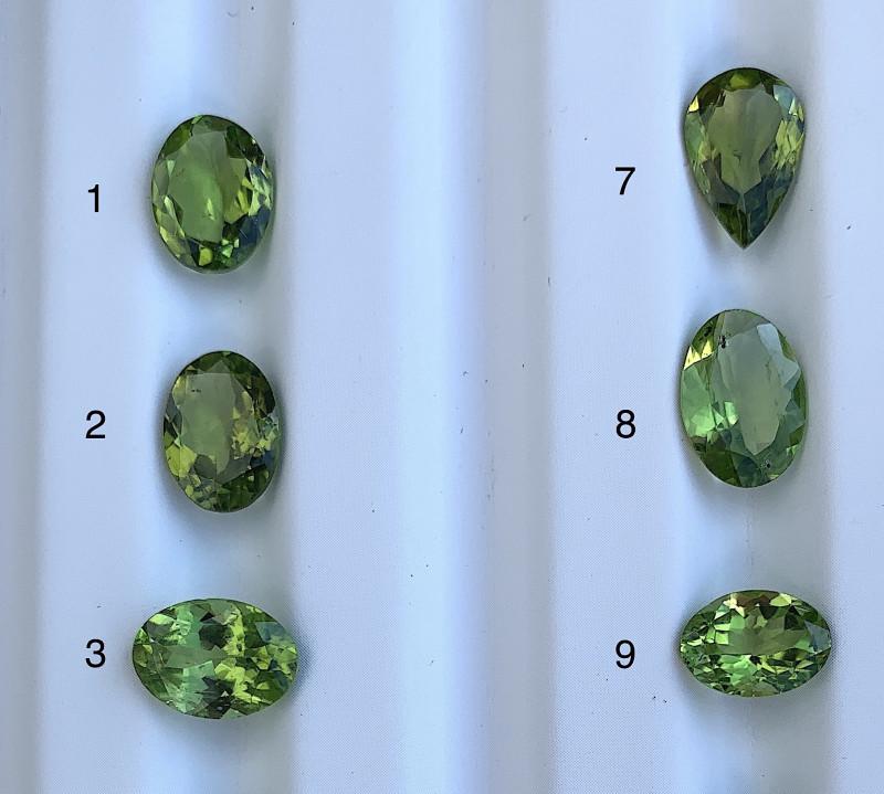 33.24 CTS Peridot Loose Gemstone 12 PCS LOT - Natural Gemstone - Oval Shape