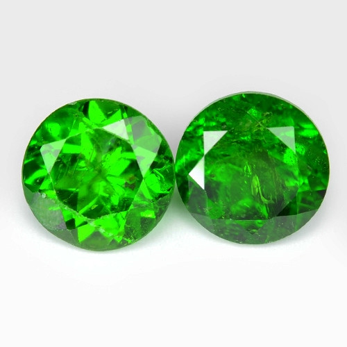 1.78 Cts  2 Pcs Natural Green Color Chrome Diopside Loose Gemstone