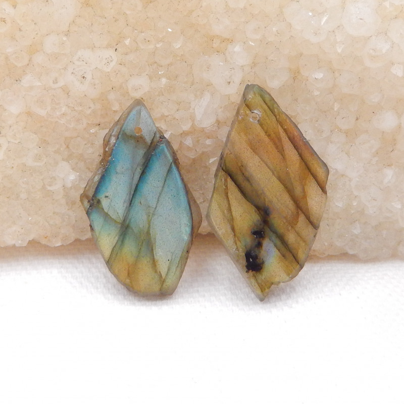 Natural Labradorite Drilled Earrings Bead, stone for earrings making H1090