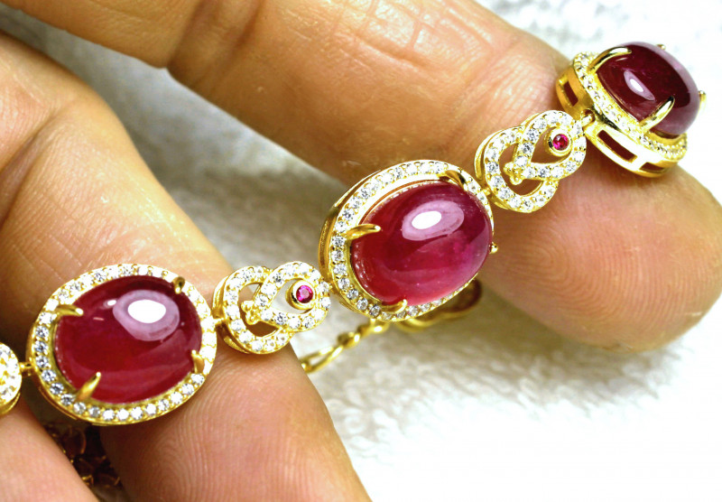 91.0 Tcw. Ruby/ Sterling Silver / Gold Plated Bracelet - Gorgeous