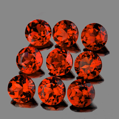 4.00 mm Round 9 pcs 1.91cts Orange Red Garnet [VVS]