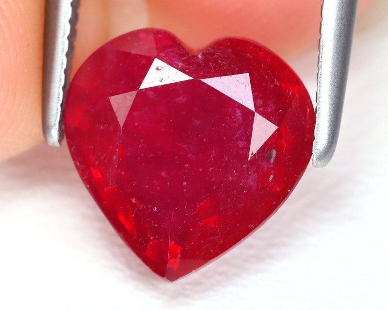 Red Ruby 2.85Ct Heart Cut Pigeon Blood Red Ruby AB5740
