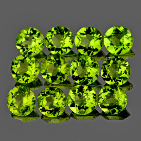 4.00 mm Round 12 pcs 3.75cts Green Peridot [VVS]