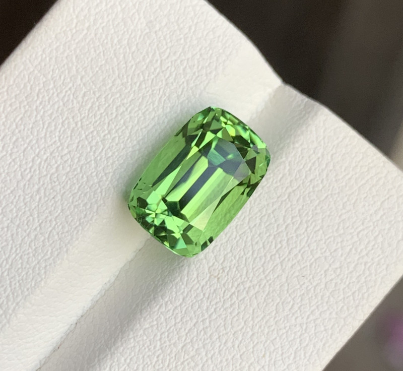 5.40 ct Loop-Clean Green Tourmaline From Afghanistan Step Cushion Shape T2