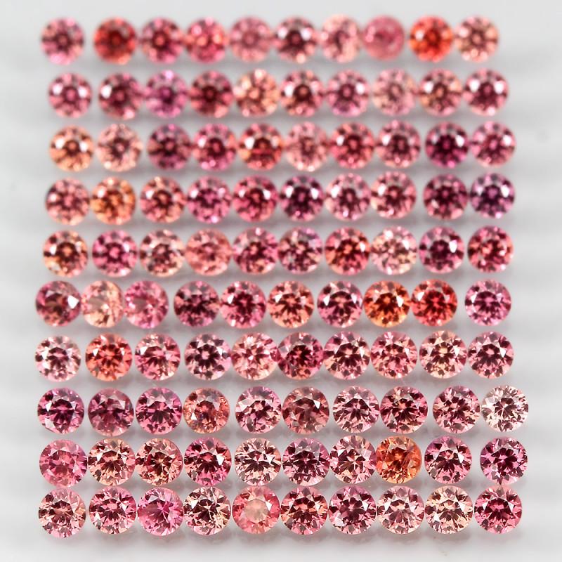 3.57 Ct 1.8mm 100p Round Diamond Cut 100% Natural Top Padparadscha Sapphire
