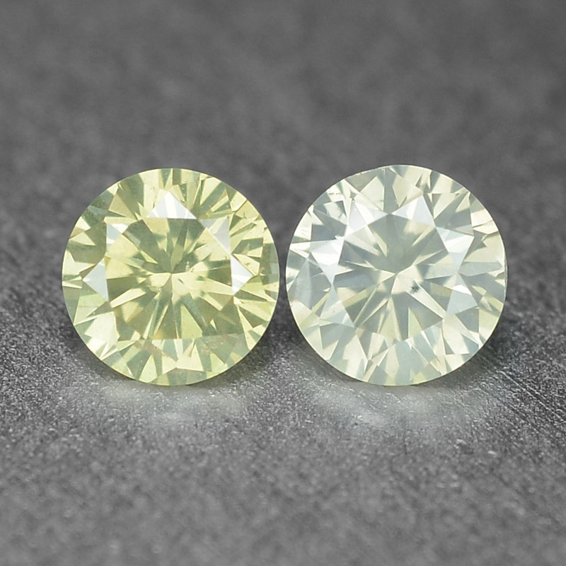 0.19 Cts 2 Pcs Untreated Fancy Yellowish Grey Color Natural Loose Diamond