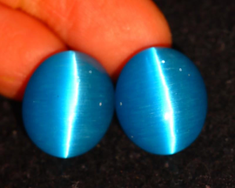 Agate Cat Eye 21.30Ct 2Pcs Natural Blue Agate Cat Eye EF1502/C1