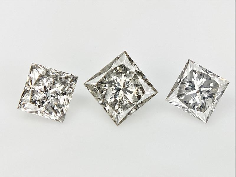 3/0.48 cts , Natural Princess Diamonds , Loose Grey Diamonds