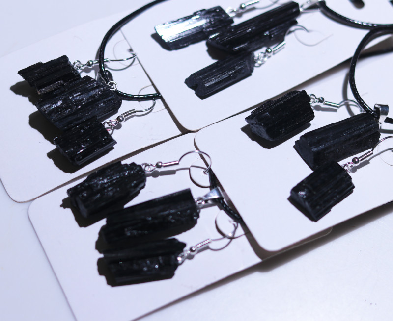 Four sets Holistic black Tourmaline 12 pc Jewelry Set BRBT2-4