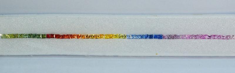 6.11Cts Natural Rainbow Sapphire Bracelet Square 2.00mm Princess one Strip