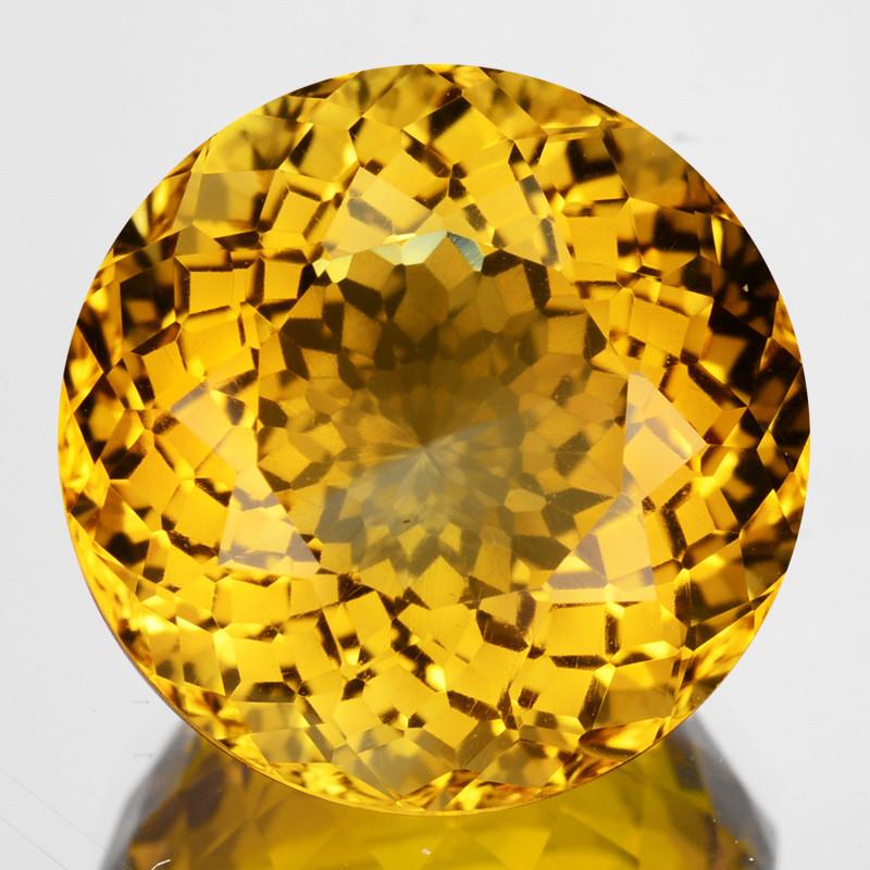 ~CUSTOM CUT~ 5.84 Cts Natural Golden Orange Citrine Fancy Round Brazil