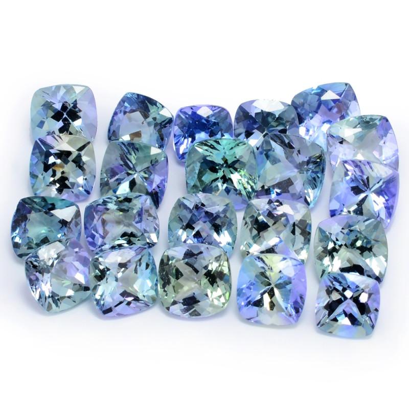 13.82 Cts 21pcs Cushion Cut 5.34x3.34 Greenish Blue Color Natural Tanzanite