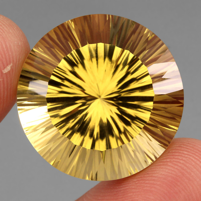 Very Clean 48.73 Ct. 24mm Round Concave Cut 100% Natural Yellow Citrine