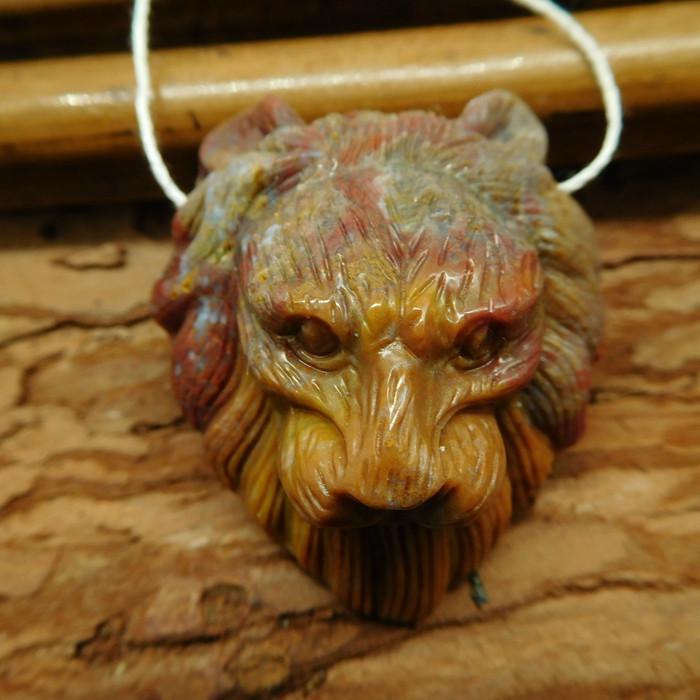 Fancy agate lion pendant bead (G2530)