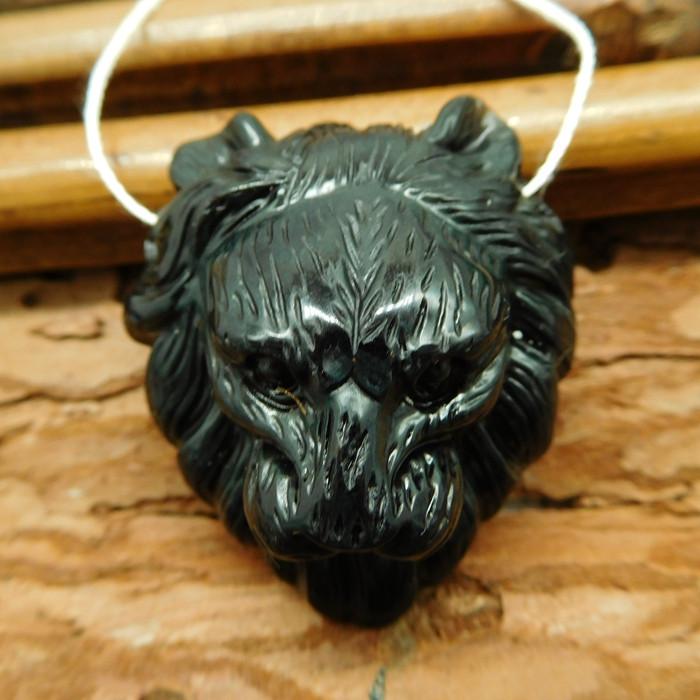 Gemstone obsidian carved lion bead (G2534)