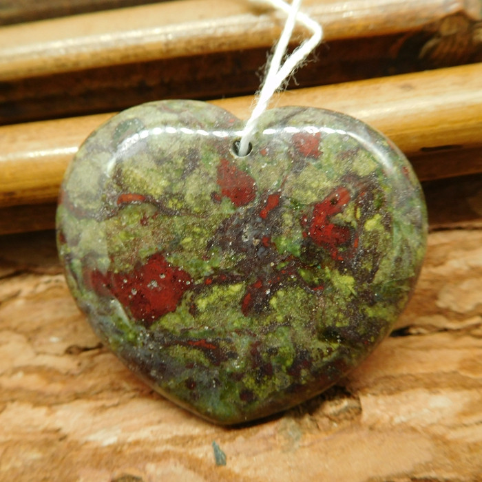Heart shape dragon bloodstone pendant (G2548)