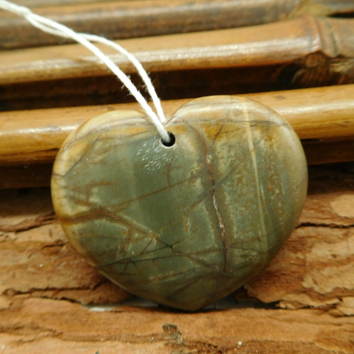 Gemstone heart shape creek jasper pendant (G2555)